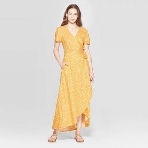 Universal thread yellow floral wrap dress